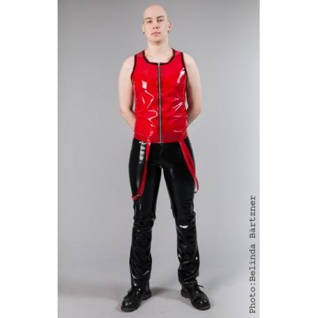 """Väst """"Zipper"""" i röd och svart latex, storlek L"""