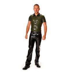 """Kortärmad militärskjorta """"Trooper"""" i svart latex, storlek M"""