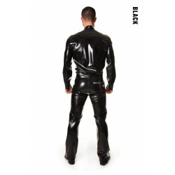 Smokingskjorta i svart latex, storlek M