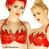 """Röd och svart latex-BH, """"Venus"""", storlek 3"""