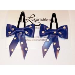 """2 små hårspännen """"Polka Star"""", blå/vit"""