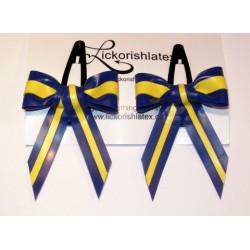 """2 små hårspännen """"Candy Stripe"""", blå/gul"""