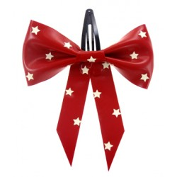 "Hårspänne ""Polka Star"", rött/vitt"