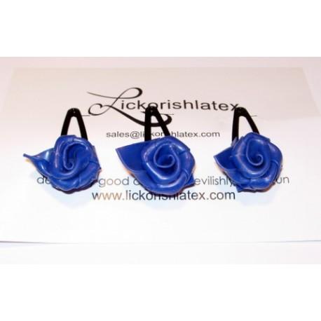 3 hårspännen med söta latexrosor, blått
