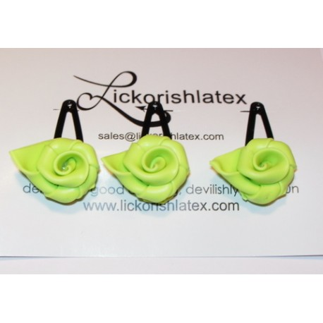 3 hårspännen med söta latexrosor, limegrönt