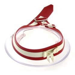 Latexhalsband med rosett, rött/vitt