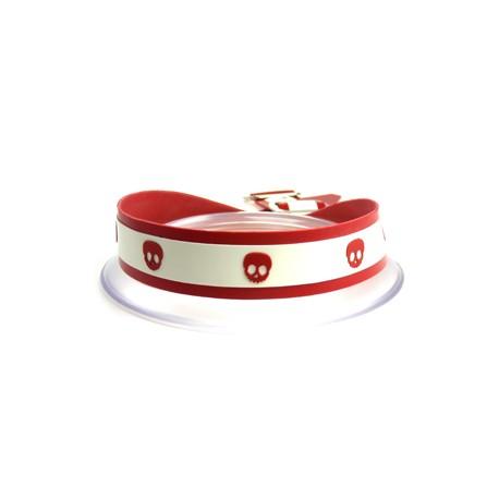Latexhalsband Skullka-Dot. Rött/vitt med röda dödskallar