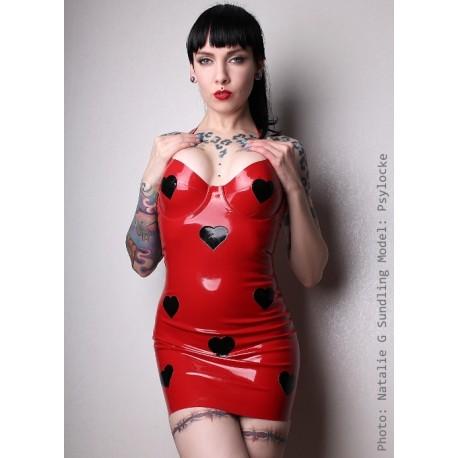 "Röd latexklänning ""Mia Miaow"" med svarta hjärtan"
