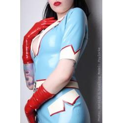 """Ljusblå latexklänning """"Nurse Tina uniform"""""""