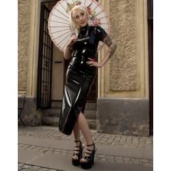 Lång svart latexklänning i orientalisk stil, storlek 3